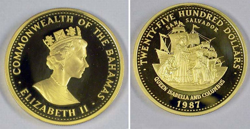 Lot image - Bahamas: 1987 12 Ounce Gold Coin
