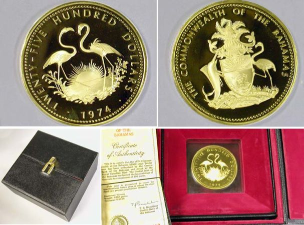 Lot image - Bahamas: 1974 12 Ounce Gold Coin