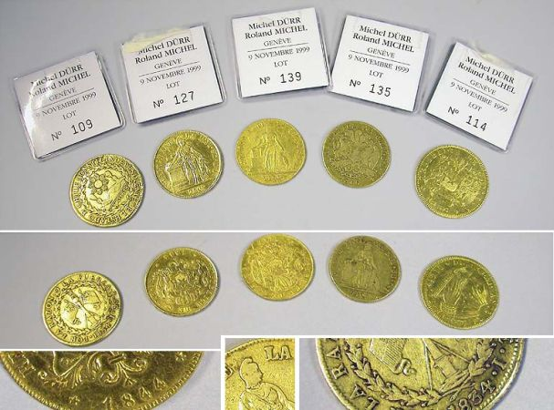 Lot image - Chile: Five 8 Escudos Gold Coins