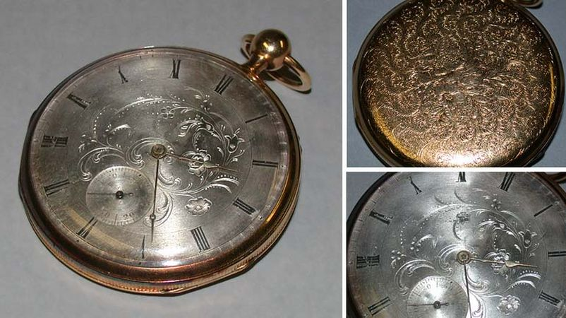 Lot image - Large Gold Stem Activated Quarter Repeater Watch