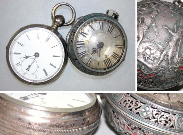 Lot image - Early Silver Oignon Two Hand Alarm Watch