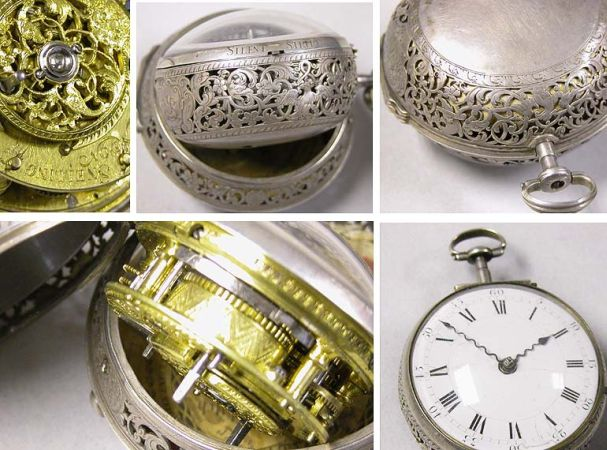 Lot image - Engraved Silver Pair Case Oignon Watch