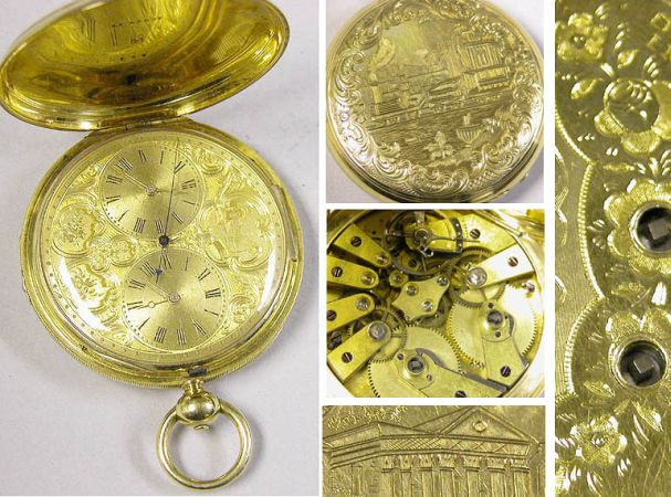 Lot image - Large Gold Hunting Case Double Train Watch