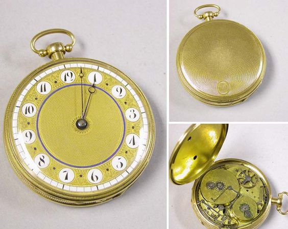 Lot image - Large Gold Openface Repeater and Musical Watch