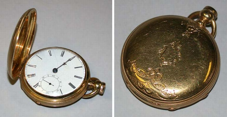 Lot image - Rare Gold Hunting Case Watch