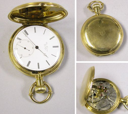 Lot image - Gold Hunting Case Bow Set Watch