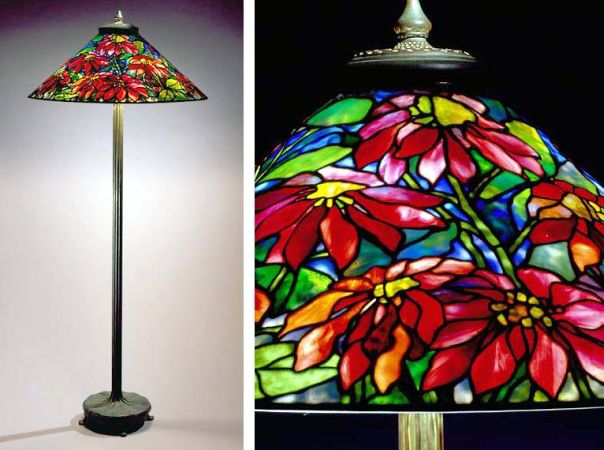 Lot image - Tiffany Studios Patinated-Bronze and Leaded Favrile Glass Poinsettia Floor Lamp