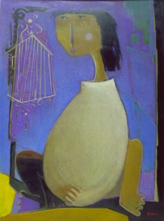 Lot image - Angel Botello Spanish, 1913-1986 WOMAN WITH BIRDCAGE