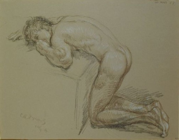 Lot image - Paul Cadmus American, 1904-1999 KNEELING MALE NUDE