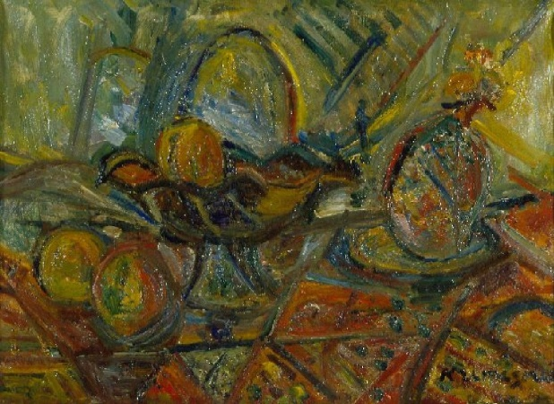 Lot image - Pinchus Kremegne Russian/Lithuanian, 1890-1981 STILL LIFE WITH PINEAPPLE, 1957
