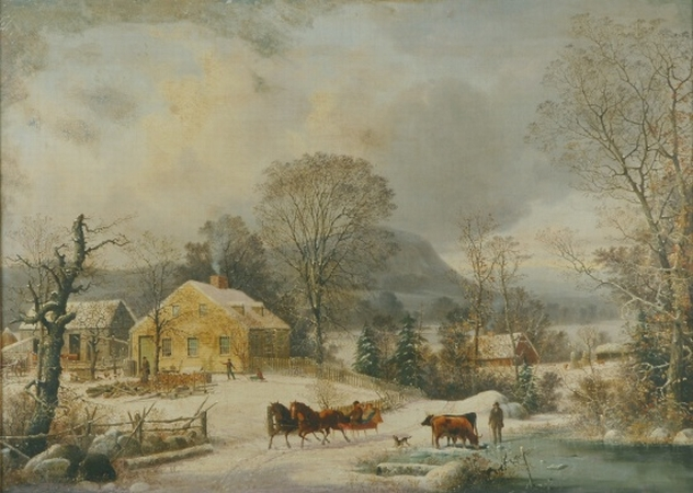 Lot image - George Henry Durrie 1820-1863 Ketcham Farm in Winter, New Haven, 1858