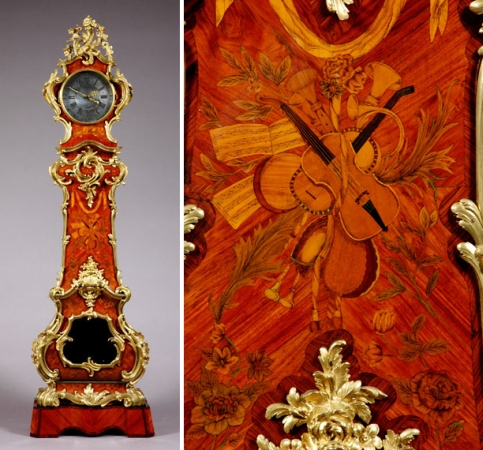 Lot image - Louis XV Gilt-Bronze Mounted Marquetry Inlaid Kingwood Regulateur Tall Case Clock