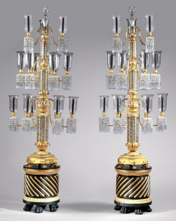 Lot image - Pair of Late Regency Gilt-Bronze and Cut Glass Three-Tier Fifteen-Light Torcheres