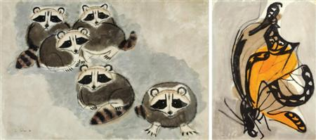 Lot image - Charles B. Culver American, 1908-1967 (i) Five Raccoons (ii) New Butterfly