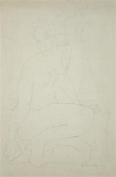 Lot image - Louise Berliawsky Nevelson American, 1900-1988 Two Female Nudes, 1936