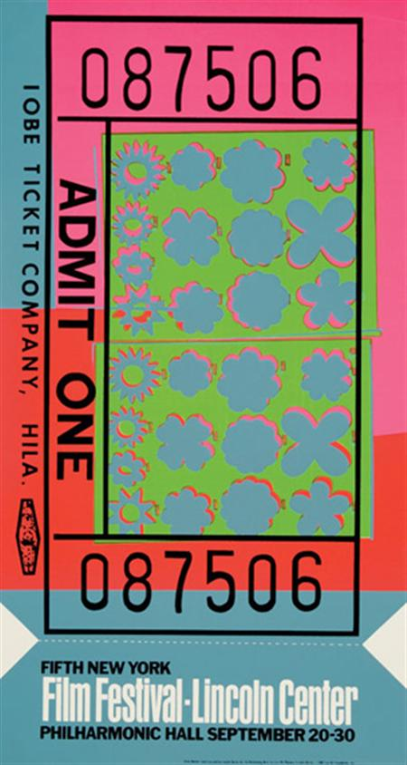 Lot image - Andy Warhol LINCOLN CENTER TICKET Color screenprint