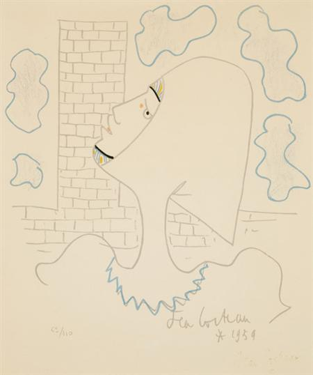 Lot image - Jean Cocteau [FIGURE IN PROFILE] Color lithograph