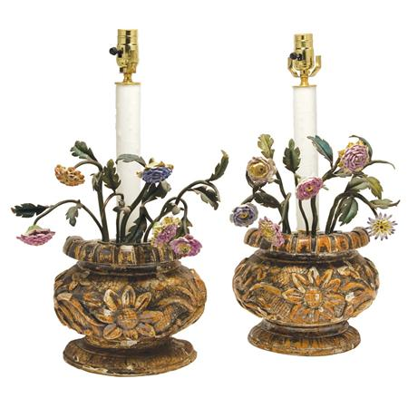 Pair of Continental Rococo Style Silvered Wood, Tole and