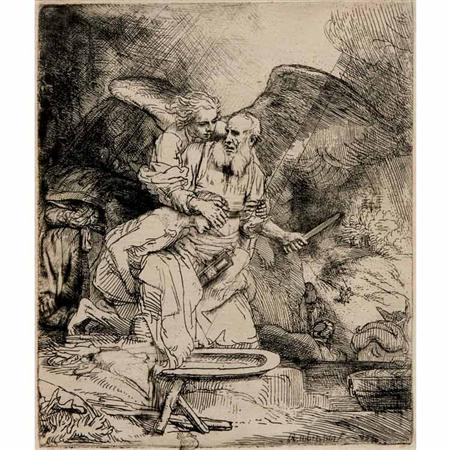 Lot image - Rembrandt van Rijn ABRAHAMS SACRIFICE Etching and drypoint