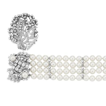 Lot image - Four Strand Cultured Pearl and Diamond Bracelet with Loose Diamond Clasp