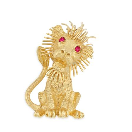 Lot image - Gold and Ruby Lion Brooch, Cartier