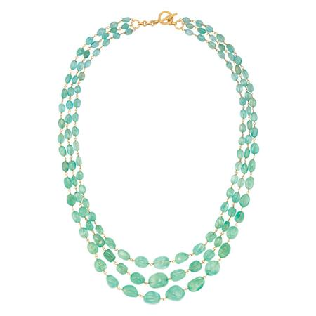 Lot image - Triple Strand Tumbled Emerald Bead and Gold Necklace