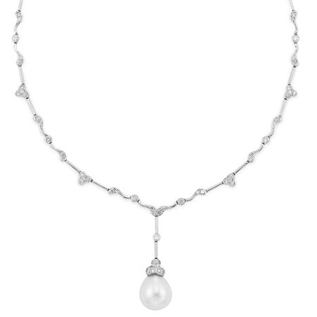 Lot image - White Gold, Diamond and Cultured Pearl Pendant-Necklace