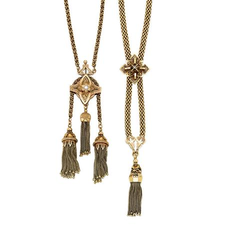 Lot image - Two Gold and Low Karat Gold Tassel Necklaces