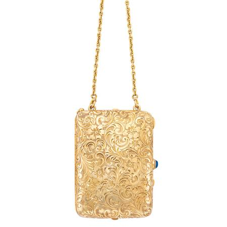 Lot image - Antique Gold Vanity Case with Chain