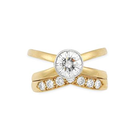 Lot image - Gold, Platinum and Diamond Ring and Guard Ring, Tiffany & Co.