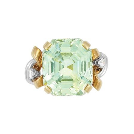Lot image - Gold, Platinum, Green Sapphire and Diamond Ring