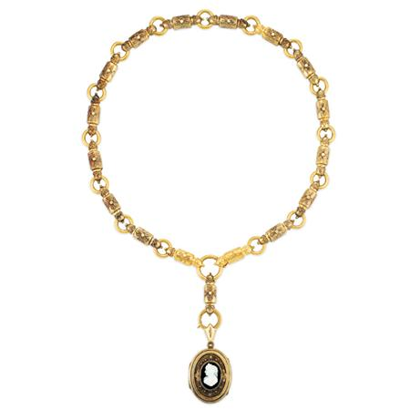 Lot image - Antique Gold Chain with Hardstone Cameo Locket
