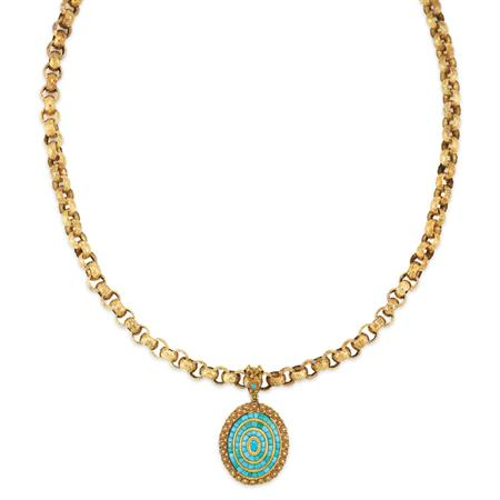 Lot image - Antique Gold Chain with Gold and Turquoise Pendant