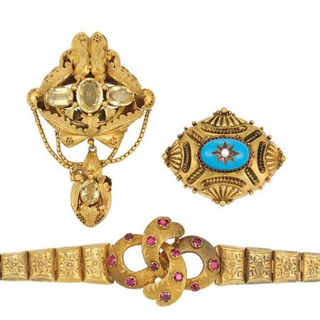 Lot image - Antique Gold and Citrine Brooch, Gold and Garnet Bracelet and Gold, Enamel and Split Pearl Brooch
