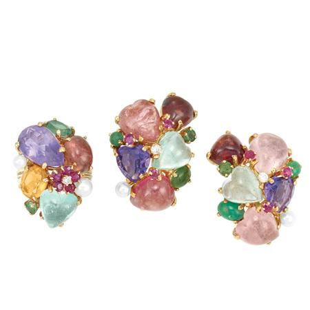 Lot image - Pair of Cabochon Colored Stone, Diamond and Cultured Pearl Earclips and Ring