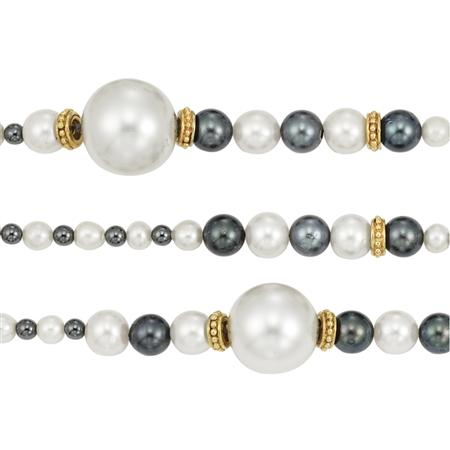 Lot image - Three Long White and Black Cultured Pearl, Hematite, Gold and Simulated Pearl Necklaces