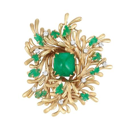Lot image - Gold, Cabochon and Carved Emerald and Diamond Clip-Brooch, Trabert & Hoeffer