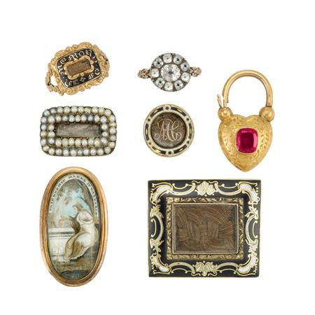 Lot image - Group of Antique Memorial Jewelry