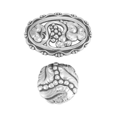 Lot image - Two Sterling Silver Brooches, Georg Jensen