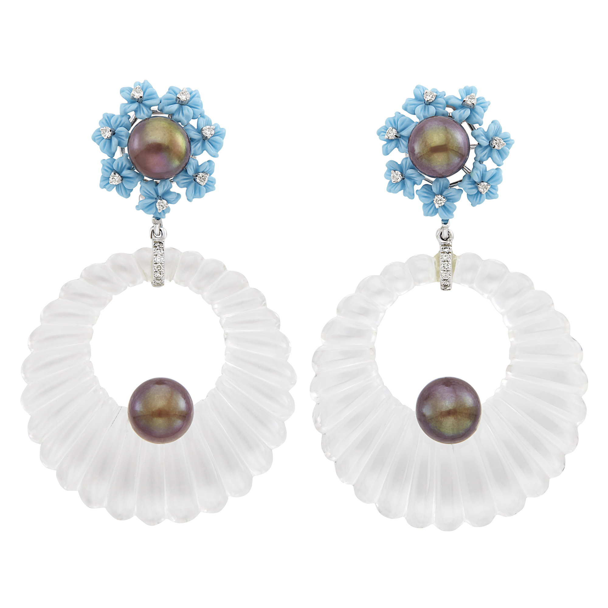 Lot image - Pair of White Gold, Fluted Rock Crystal, Carved Turquoise, Black Cultured Pearl and Diamond Pendant Hoop Earclips