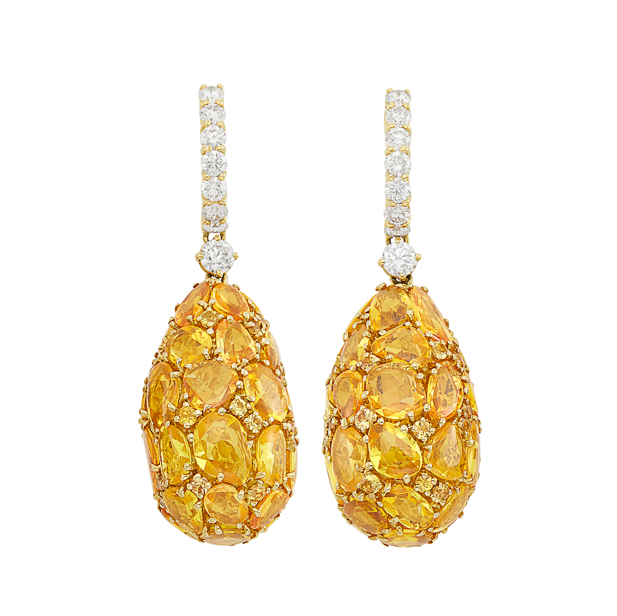 Lot image - Pair of Gold, Yellow Sapphire and Diamond Pendant-Earrings