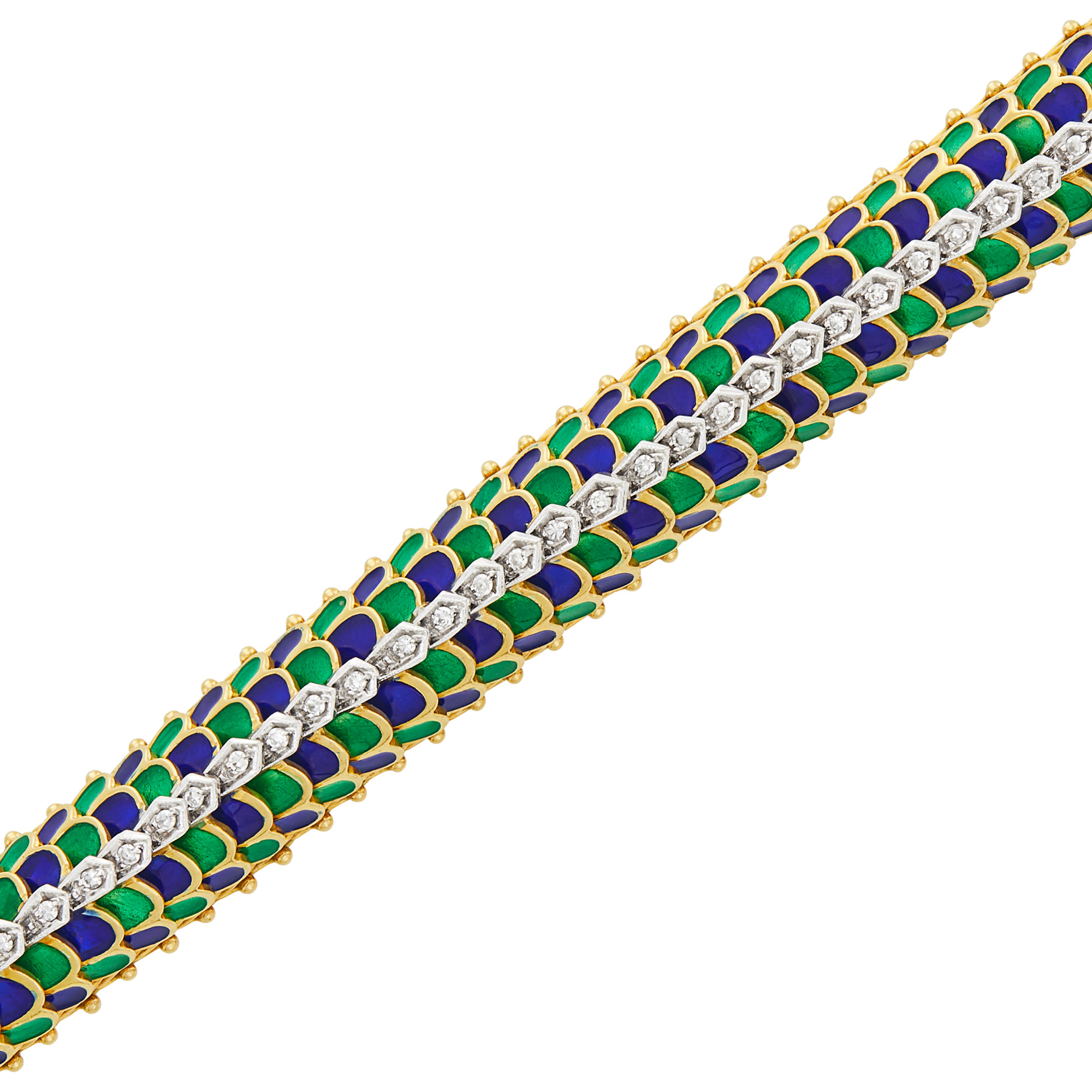 Lot image - Two-Color Gold, Blue and Green Enamel and Diamond Dome Bracelet