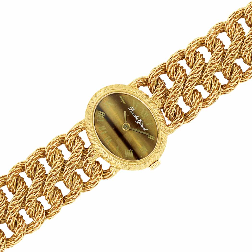 Lot image - Gold and Tigers-Eye Wristwatch, Bueche Girod