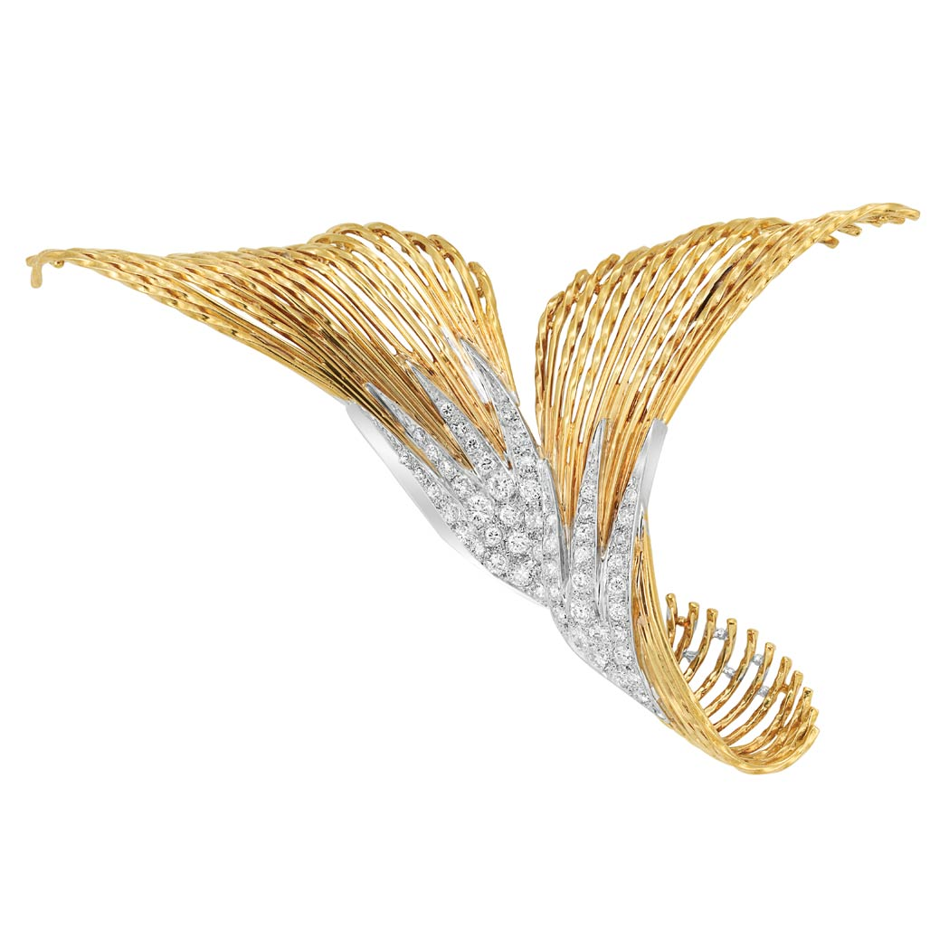 Lot image - Gold, Platinum and Diamond Clip-Brooch