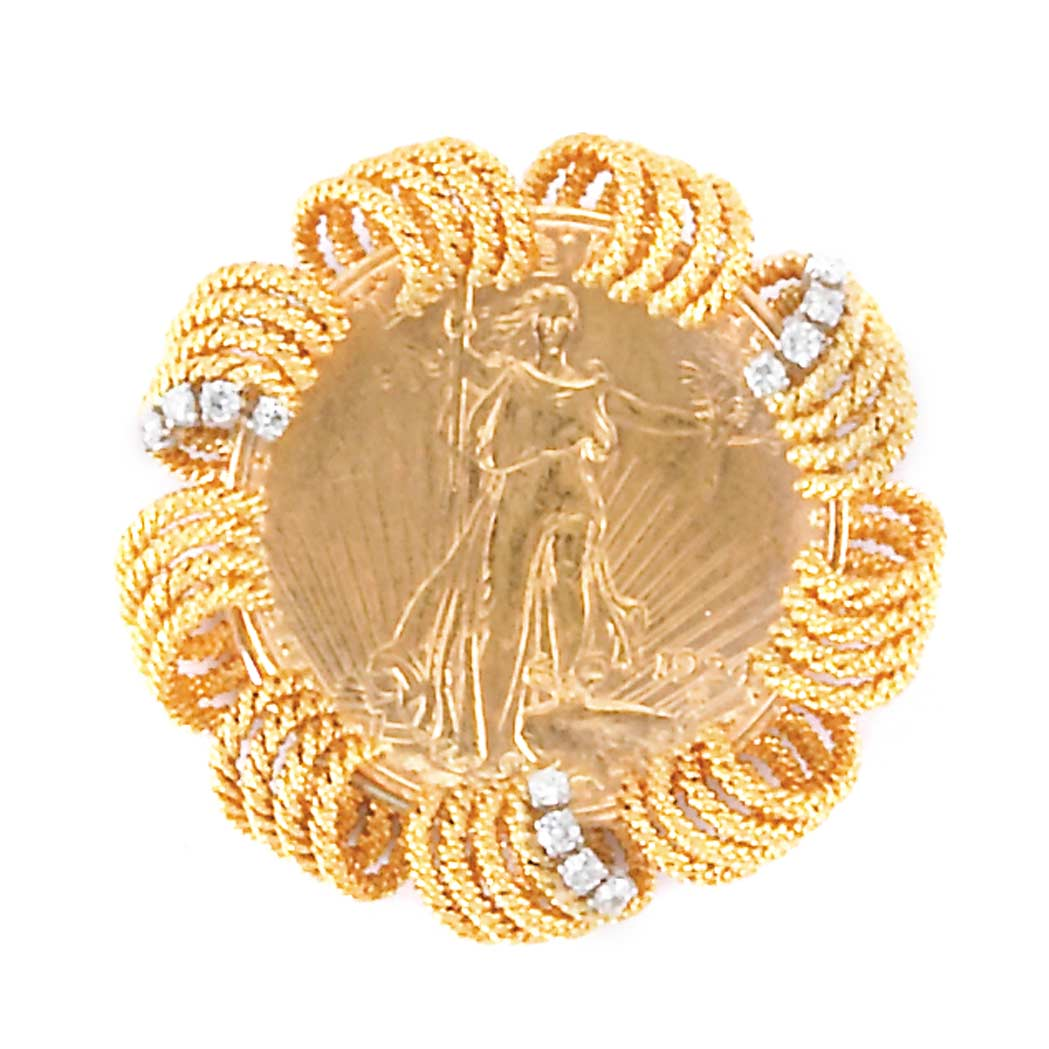Lot image - Gold, Gold Coin and Diamond Pendant-Brooch