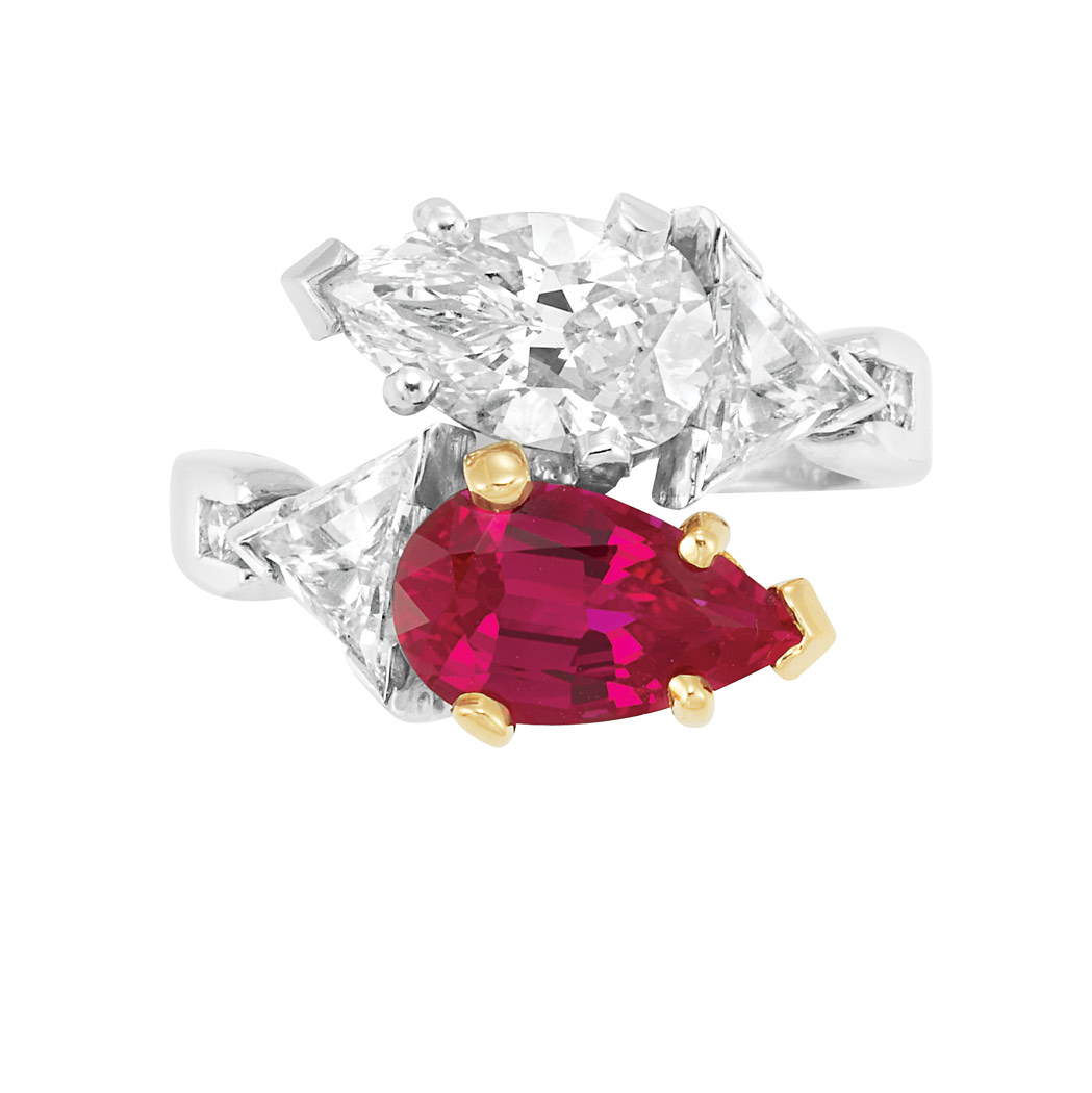 Lot image - Platinum, Diamond and Synthetic Ruby Ring