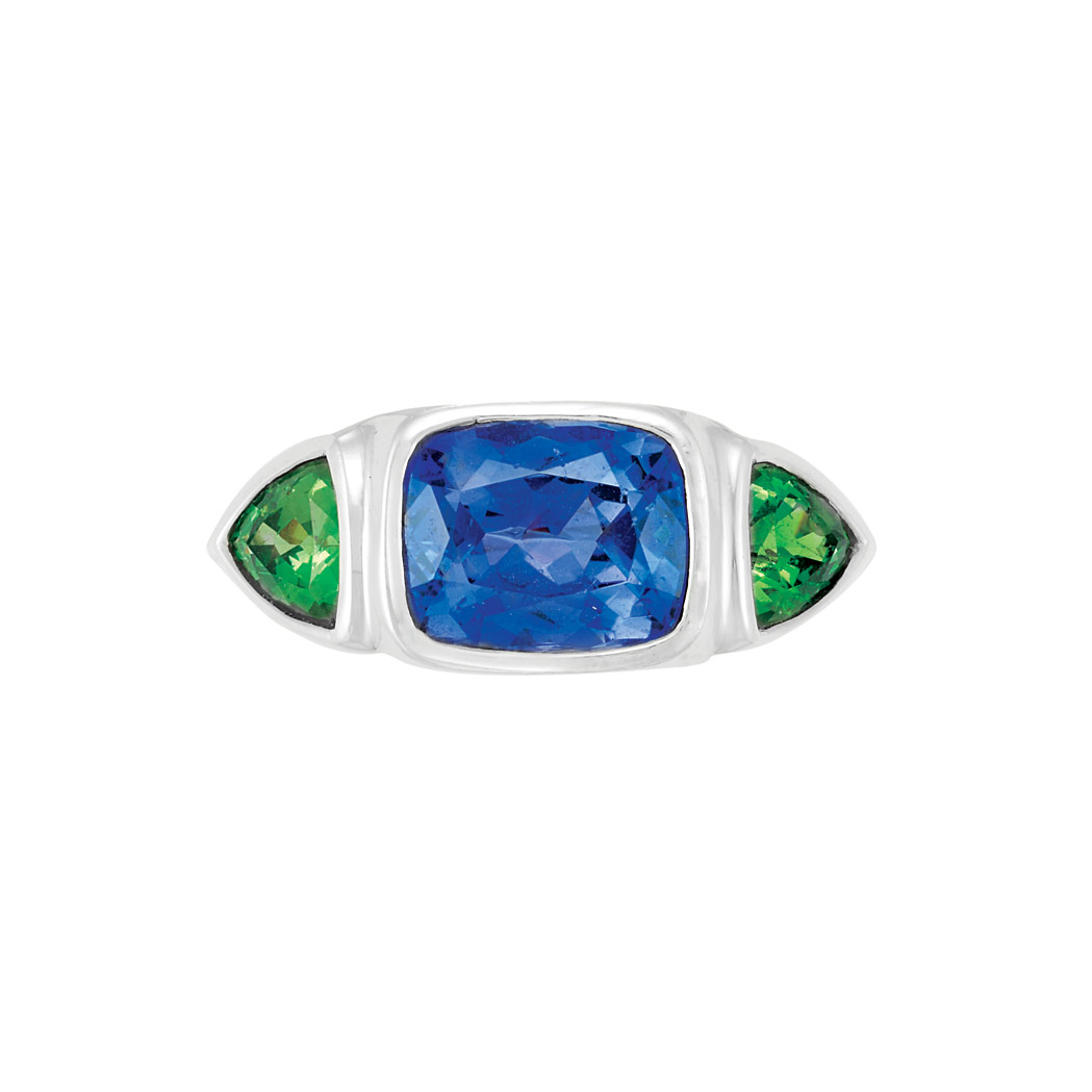 Lot image - Platinum, Tanzanite and Tsavorite Gypsy Ring