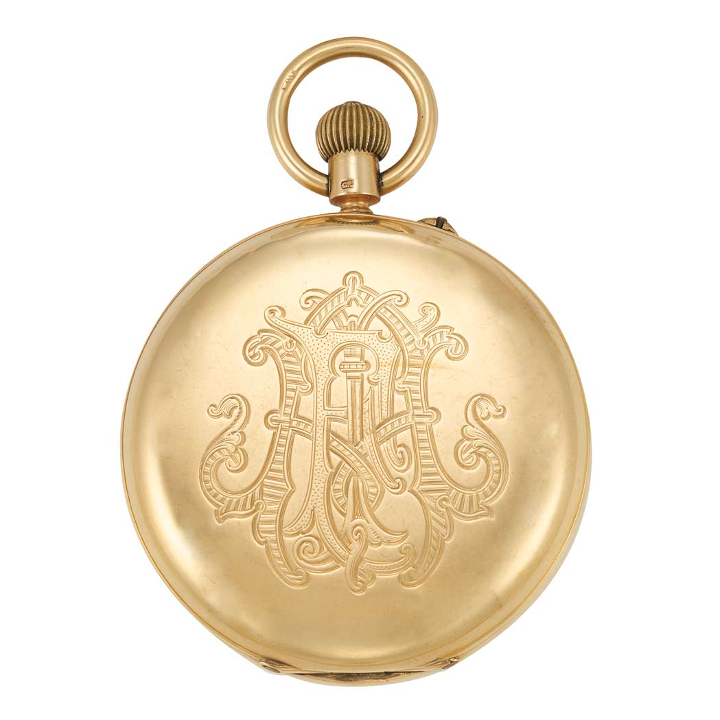 Lot image - Gold Hunting Case Chronograph Pocket Watch
