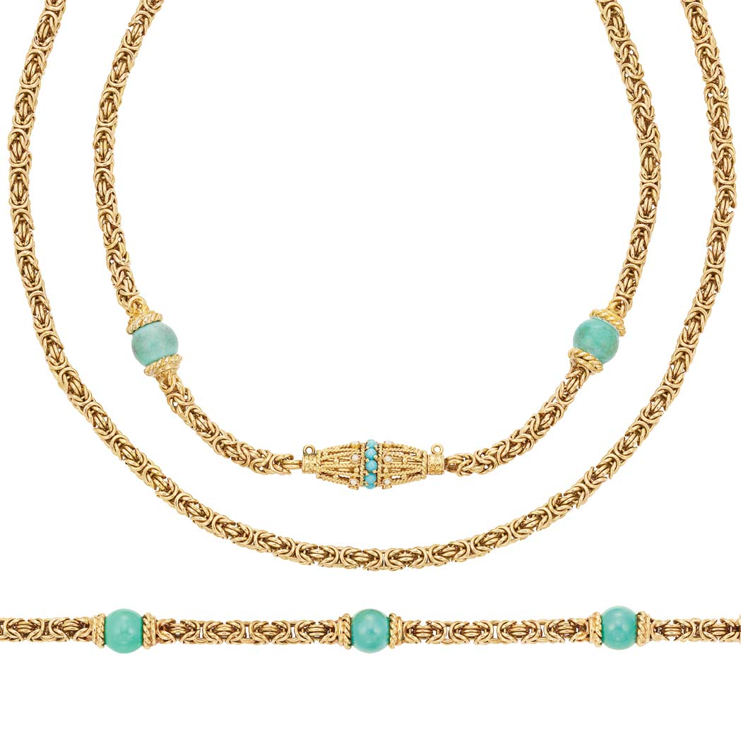 Lot image - Two Gold and Turquoise Bead Necklaces