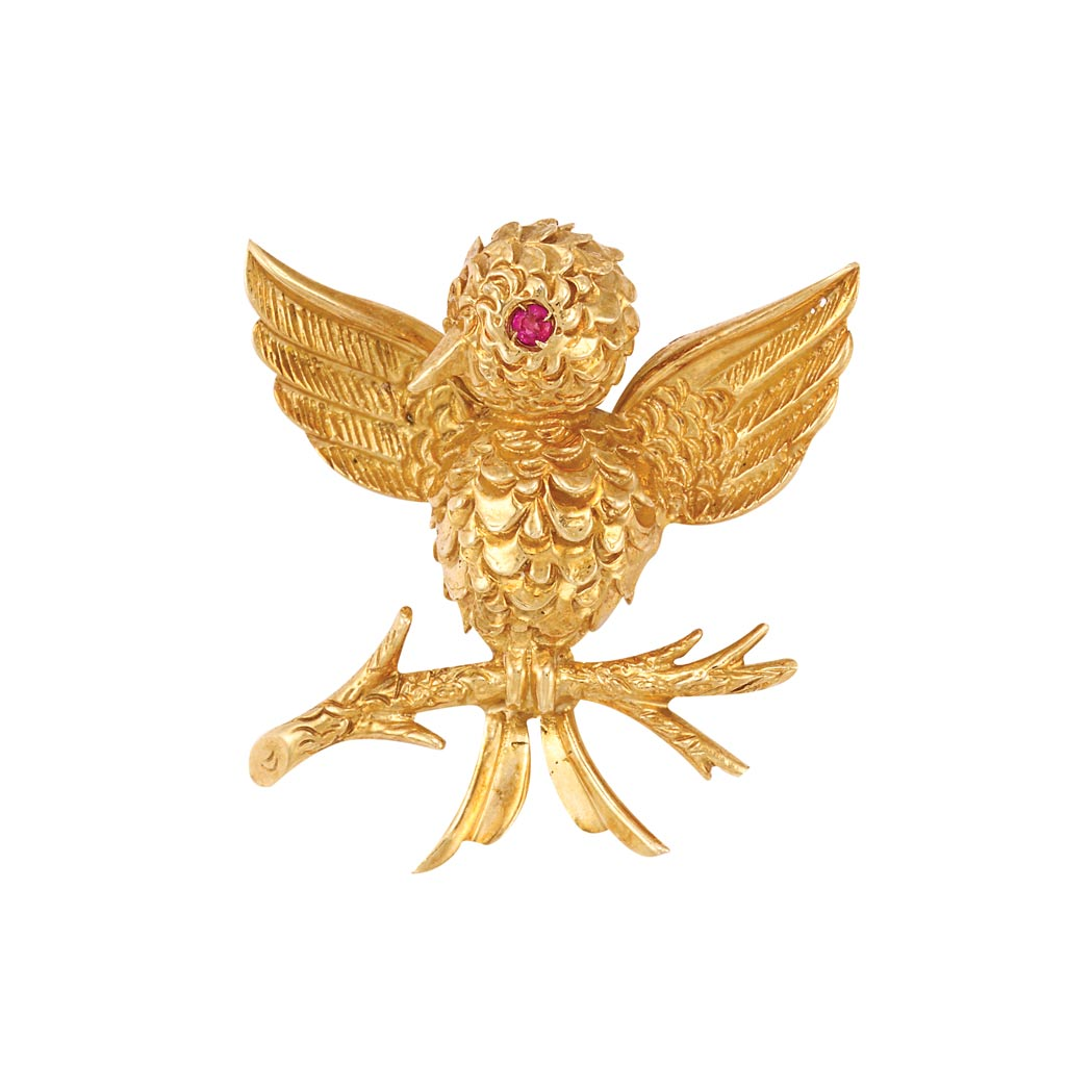 Lot image - Gold and Ruby Bird Pin, Tiffany & Co.